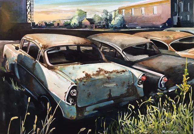 Vieilles voitures à l'aquarelle