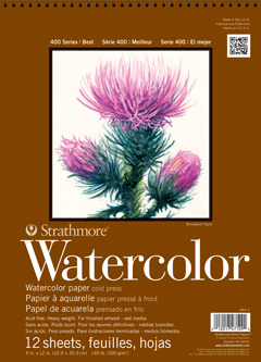 "Strathmore 472-9 400 Series Watercolor Block 4 sides Cold Press 9/""x12/"" Bound"