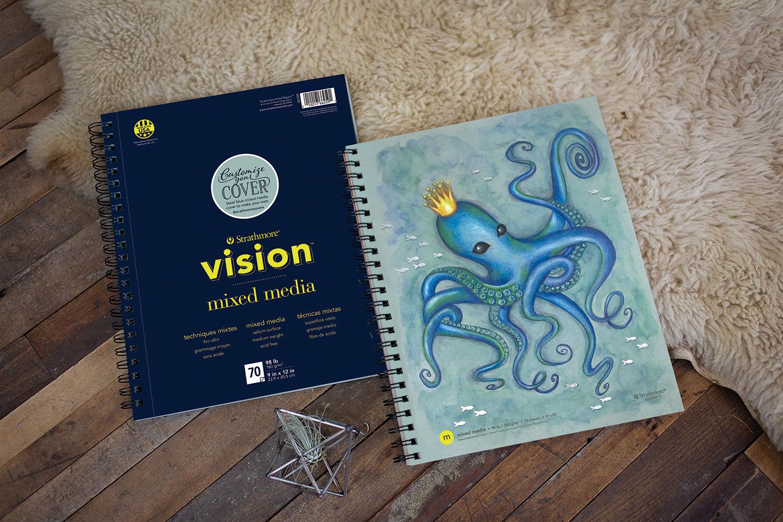 Strathmore 662-59 Vision Mixed Media Pad, 9x12, 70 Sheets