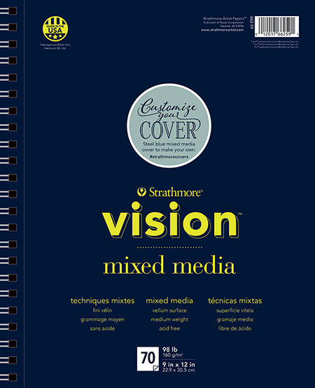 "Strathmore 400 Series Mixed Media Pad Tone Blue 9/""x12/""-15 Sheets"